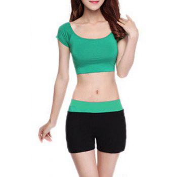 Chic Short Sleeve Scoop Neck Hit Color Women's Yoga Suit - GREEN GREEN