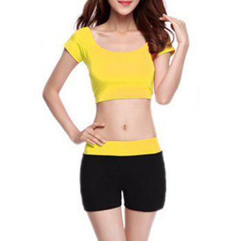 Chic Short Sleeve Scoop Neck Hit Color Women's Yoga Suit - YELLOW YELLOW