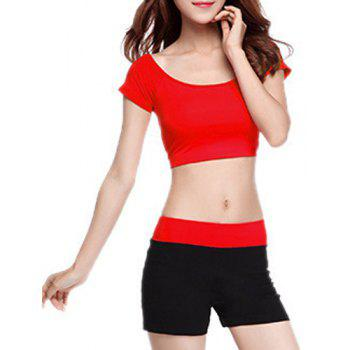 Chic Short Sleeve Scoop Neck Hit Color Women's Yoga Suit - RED RED