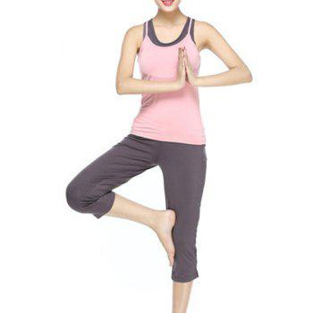 Chic Scoop Collar Sleeveless Racerback Hit Color Three-Piece Women's Yoga Suit - PINK L