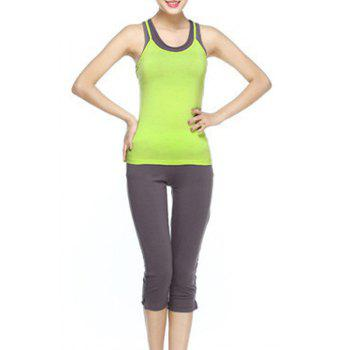 Chic Scoop Collar Sleeveless Racerback Hit Color Three-Piece Women's Yoga Suit - GRASS GREEN S
