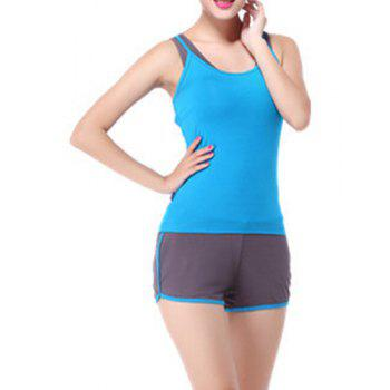 Buy Chic Scoop Neck Sleeveless Racerback Hit Color Three-Piece Women's Yoga Suit LAKE BLUE