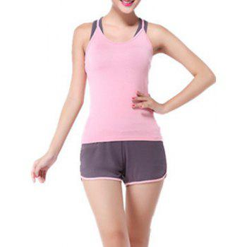 Chic Scoop Neck Sleeveless Racerback Hit Color Three-Piece Women's Yoga Suit