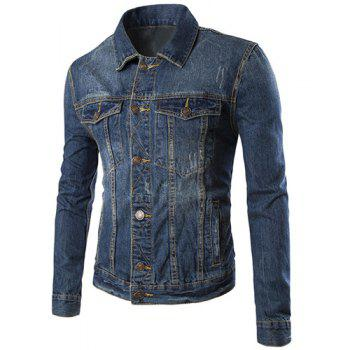 Pocket Design Turn Down Collar Single Breasted Denim Jacket For Men