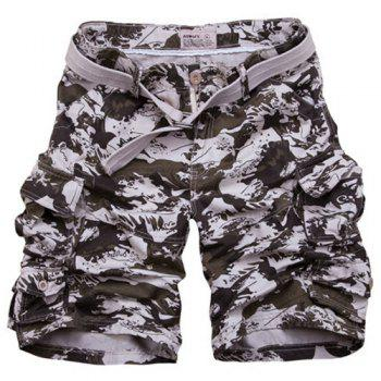 Zipper Fly Loose Fit Camo Fifth Cargo Shorts With Belt For Men - CAMOUFLAGE L