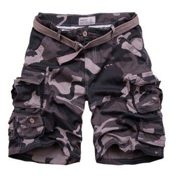 Zip Fly Camo Loose Fit Fifth Cargo Shorts With Belt For Men - CAMOUFLAGE L
