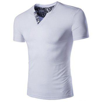 Slimming V-Neck Solid Color Short Sleeves T-Shirt For Men