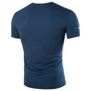 Slimming Round Collar Solid Color Letter Printed Short Sleeves T-Shirt For Men - BLUE 4XL