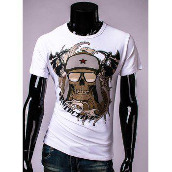 3D Sickle and Hat Skull Printed Round Neck Short Sleeve Men's T-Shirt