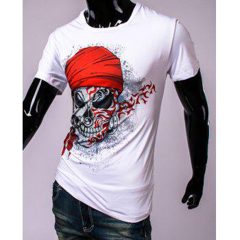 3D Pirate Skull Printed Round Neck Short Sleeve Men's T-Shirt - WHITE XL