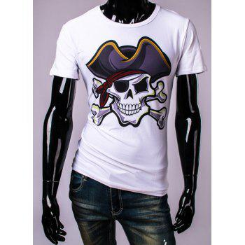 3D Pirate Skull Print Round Neck Short Sleeve Men's T-Shirt