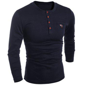 Round Neck Edging Design Long Sleeve Buttons Embellished Men's T-Shirt