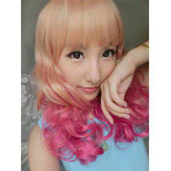 Lolita Fluffy Wavy Sweet Long Full Bang Brown Ombre Rose Synthetic Cosplay Wig For Women - OMBRE