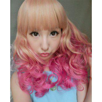 Lolita Fluffy Wavy Sweet Long Full Bang Brown Ombre Rose Synthetic Cosplay Wig For Women