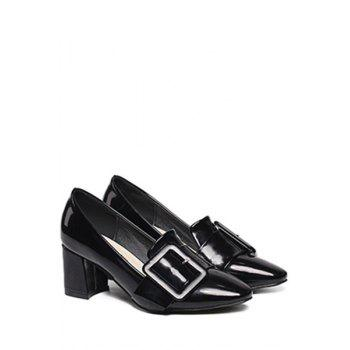 Stylish Buckle and Chunky Heel Design Pumps For Women - BLACK 38