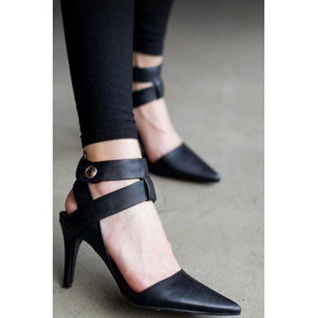 Trendy Pointed Toe and Black Design Sandals For Women - BLACK 37