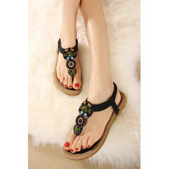 Bohemia Beading and Flat Heel Design Sandals For Women - BLACK 38