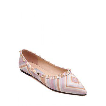 Stylish Rivet and Color Block Design Flat Shoes For Women - PINK 35