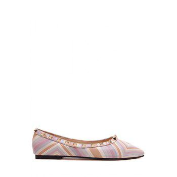 Stylish Rivet and Color Block Design Flat Shoes For Women - PINK PINK