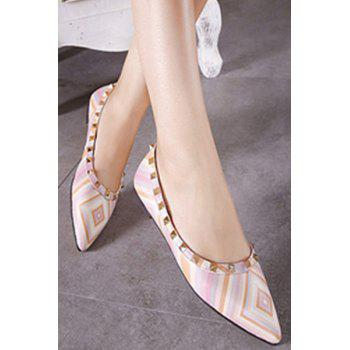 Stylish Rivet and Color Block Design Flat Shoes For Women - 35 35