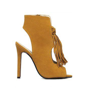 Trendy Tassel and Hollow Out Design Peep Toe Shoes For Women