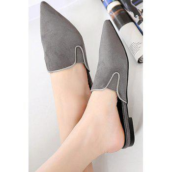 Simple Solid Color and Pointed Toe Design Slippers For Women - GRAY GRAY