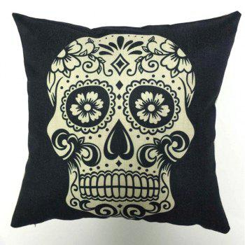 High Quality Square Shape Skull Pattern Flax Pillow Case(Without Pillow Inner)