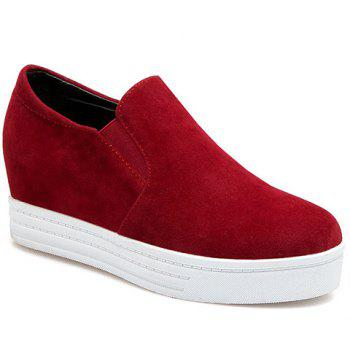 Simple Solid Colour and Suede Design Women's Wedge Shoes - RED RED