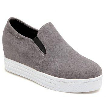 Simple Solid Colour and Suede Design Women's Wedge Shoes - GRAY GRAY
