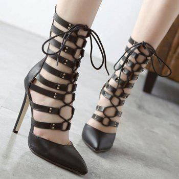Trendy Lace-Up and PU Leather Design Pumps For Women - BLACK 38