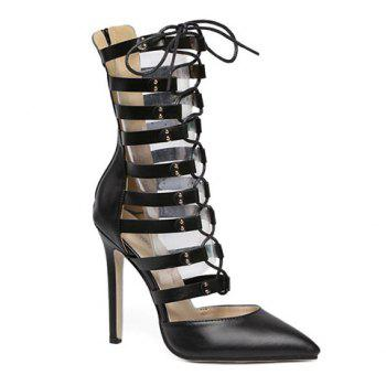 Trendy Lace-Up and PU Leather Design Pumps For Women - BLACK 37
