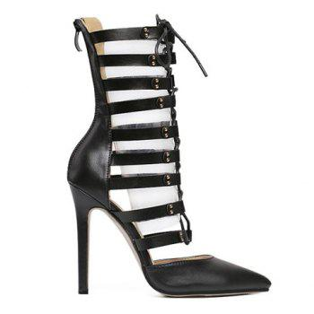 Trendy Lace-Up and PU Leather Design Pumps For Women - 40 40