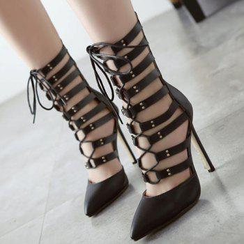 Trendy Lace-Up and PU Leather Design Pumps For Women - 39 39