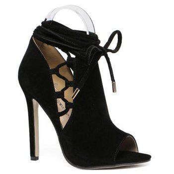Fashion Lace-Up and Peep Toe Design Pumps For Women - BLACK 38