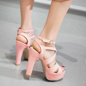 Stylish Chunky Heel and Patent Leather Design Sandals For Women - PINK 38