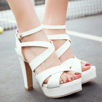 Stylish Chunky Heel and Patent Leather Design Sandals For Women - WHITE 39
