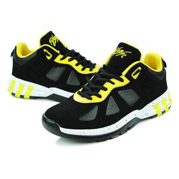 Stylish Suede and Lace-Up Design Sneakers For Men - YELLOW/BLACK 44