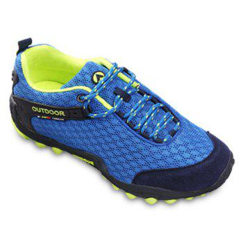 Casual Splicing and Lace-Up Design Sneakers For Men - SAPPHIRE BLUE 39