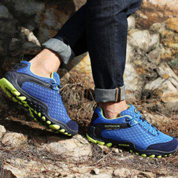 Casual Splicing and Lace-Up Design Sneakers For Men - SAPPHIRE BLUE 44
