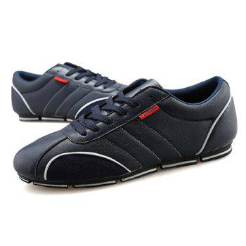 Trendy Round Toe and PU Leather Design Casual Shoes For Men - BLUE BLUE