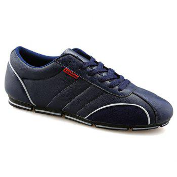 Trendy Round Toe and PU Leather Design Casual Shoes For Men - BLUE 44