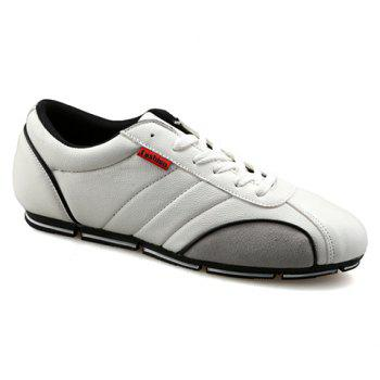 Trendy Round Toe and PU Leather Design Casual Shoes For Men - WHITE 39