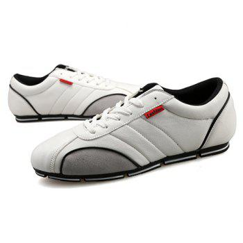 Trendy Round Toe and PU Leather Design Casual Shoes For Men - WHITE WHITE