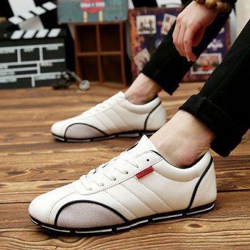Trendy Round Toe and PU Leather Design Casual Shoes For Men - 43 43