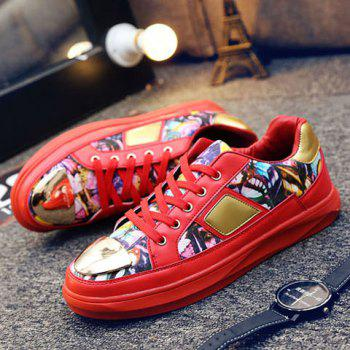Trendy Metal and Butterfly Pattern Design Men's Casual Shoes - RED RED