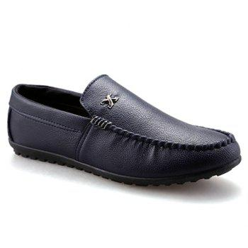 Stylish Stitching and Metal Design Men's Casual Shoes - BLUE 42