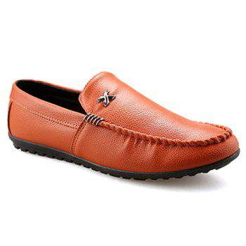 Stylish Stitching and Metal Design Men's Casual Shoes - BROWN 39