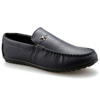 Stylish Stitching and Metal Design Men's Casual Shoes - BLACK 42