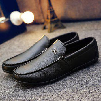 Stylish Stitching and Metal Design Men's Casual Shoes - BLACK BLACK