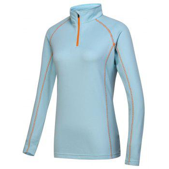 Active Stand Collar Long Sleeve Sport T-Shirt For Women - AZURE AZURE